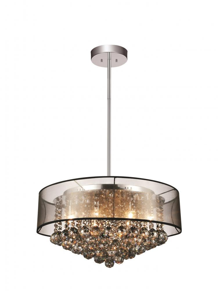 9 light drum shade chandelier with chrome finish 5062p20c smoke 9 light drum shade chandelier with chrome finish aloadofball Image collections