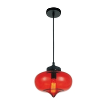 Crystal World 5570P11 - Red - 1 Light Black Down Mini Pendant from our Glass collection