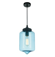 Crystal World 5570P7C - Blue - 1 Light Black Down Mini Pendant from our Glass collection