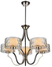 Crystal World 9810P27-5-601 - 5 Light Chrome Drum Shade Chandelier from our Lorri collection